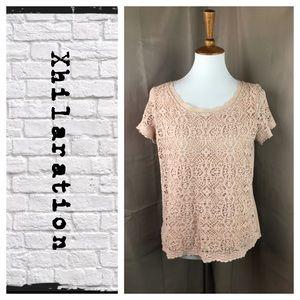 Xhilaration lace overlay tee shirt